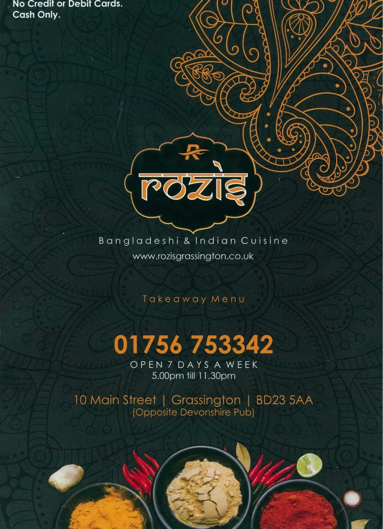 Rozis Grassington Takeaway Menu Cover