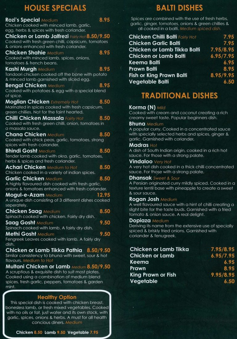 Rozis Grassington Takeaway Menu 2
